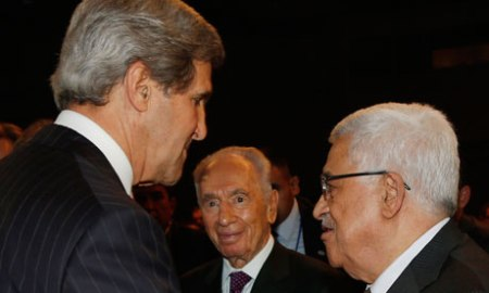 John Kerry, Shimon Peres and Mahmoud Abbas