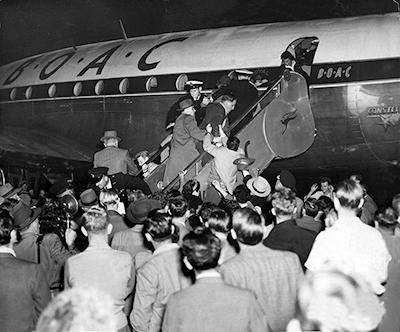 MRS EVDOKIA and MR Vladimir PETROV AT SYDNEY AIRPORT, 1954